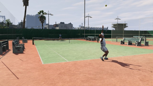 Un match de tennis à Vespucci Beach.